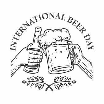 Mão de ilustração do dia internacional da cerveja estilo de desenho