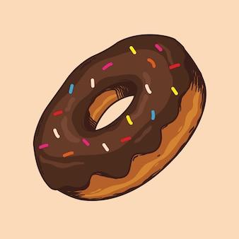 Mão de ilustração vetorial donnut desenho com cores sobremesa de chocolate