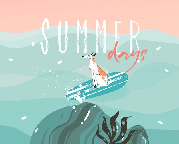 Mão de ilustrações desenhadas com um cão de surf e tipografia dias de verão texto sobre fundo de paisagem de ondas do oceano