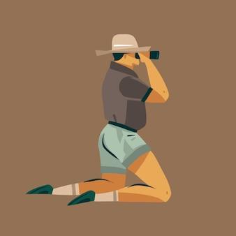 Mão de ilustrações desenhadas com um homem ajoelhado olhando através do safari de vida selvagem com binóculos isolados