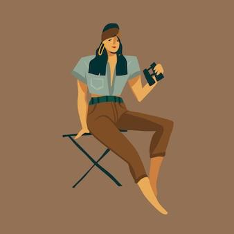 Mão de ilustrações desenhadas com uma garota sentada em uma cadeira e olhando através de binóculos