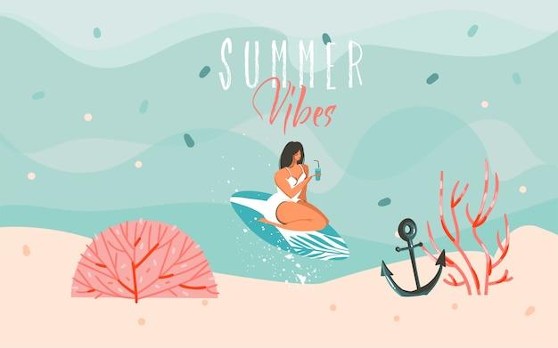 Mão de ilustrações desenhadas com uma surfista surfista na paisagem de ondas do mar e texto de tipografia de vibrações de verão sobre fundo azul