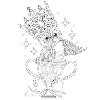 Mão de ilustrações desenhadas de coruja em estilo zentangle