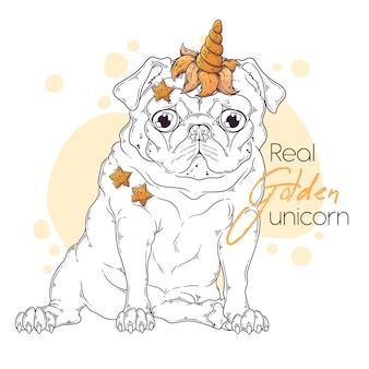 Mão de ilustrações desenhadas do cão pug com um chifre de unicórnio.