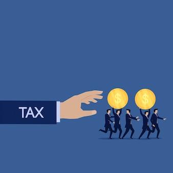 Mão de imposto de negócios pegar dinheiro equipe de negócios fugir