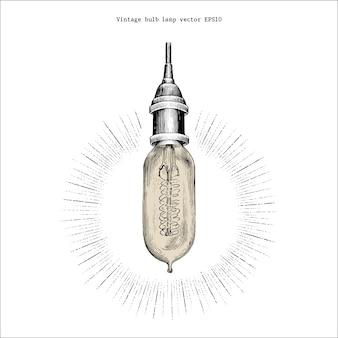 Mão de lâmpada de bulbo vintage desenho estilo de gravura