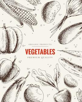 Mão de legumes desenhada. quadro de comida saudável em estilo vintage. design do menu de mercado. cartaz de alimentos orgânicos. conjunto vegetariano de produtos orgânicos