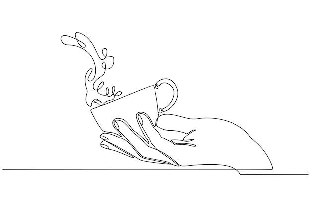 Mão de linha contínua segurando uma xícara de café com vetor de respingos de água