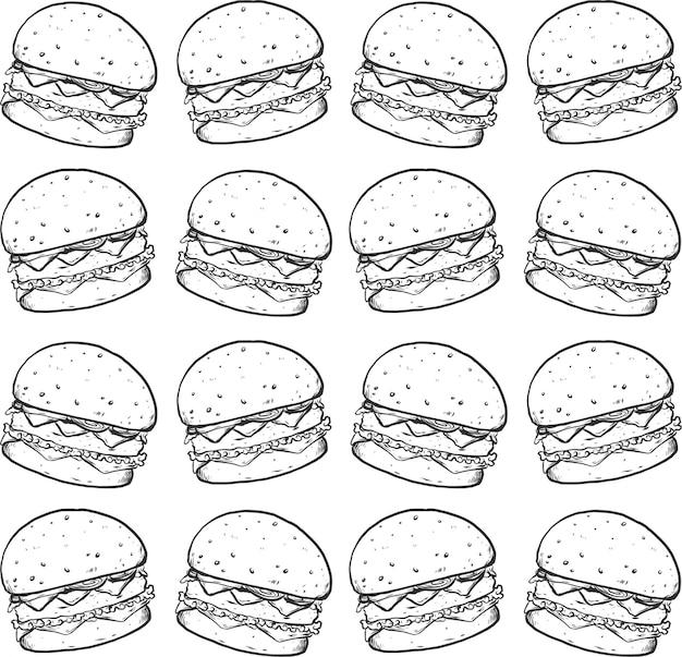Mão de linha de hambúrguer desenhar textura padrão preto branco sem costura