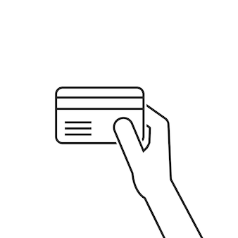 Mão de linha fina preta segurando o cartão de crédito. conceito de pagamento corporativo, banco comercial, dívida, furto, riqueza, comércio, identificação. estilo plano tendência design gráfico de logotipo moderno em fundo branco
