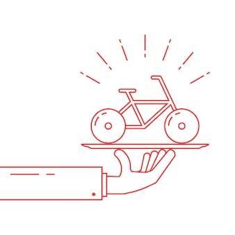 Mão de linha fina vermelha segurando a bicicleta no prato. conceito de rent-a-bike, velocípede, jornada de ciclista, passeio, presente, viagem. isolado no fundo branco ilustração em vetor logotipo moderno estilo linear