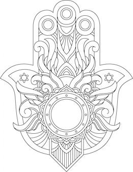Mão de livro para colorir adulto islâmico hamsa em estilo desenho e camiseta