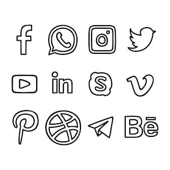 Mão de logotipos de mídia social desenhada