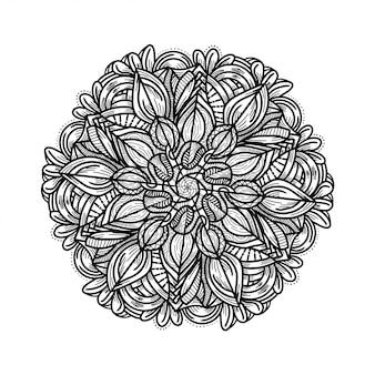 Mão de luxo desenhar ornamento floral mandala