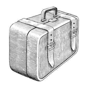 Mão de maleta médica vintage desenhar clip-art preto e branco isolado