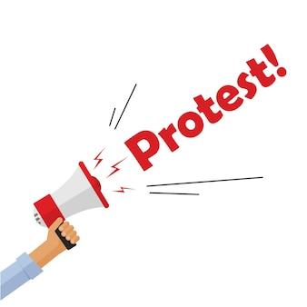 Mão de manifestante segurando megafone gritando placa de texto de protesto, pessoa com raiva
