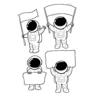 Mão de mensagem de astronauta desenhada