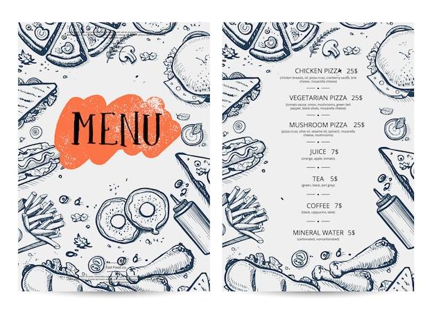 Mão de menu de comida de restaurante desenhada