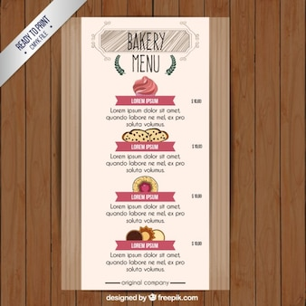 Mão de menu padaria desenhada