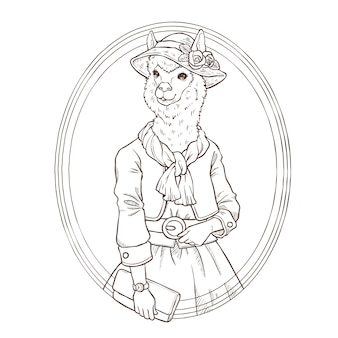 Mão de moda retrô desenhar ilustração de alpaca, preto e branco