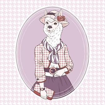 Mão de moda retrô desenhar ilustração de alpaca