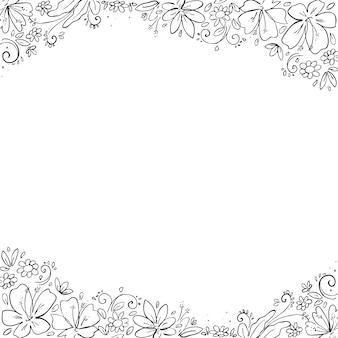 Mão de moldura floral desenhada