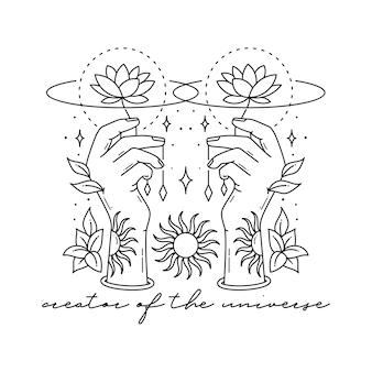 Mão de mudra mão ilustrações desenhadas