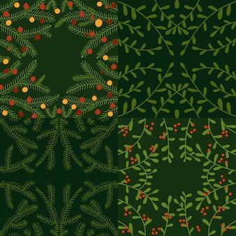 Mão de natal desenhada floral set quadrados verdes fundos com ramos decíduos e coníferos ...