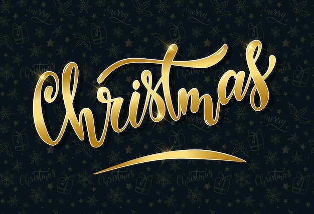 Mão de natal letras citação dourada