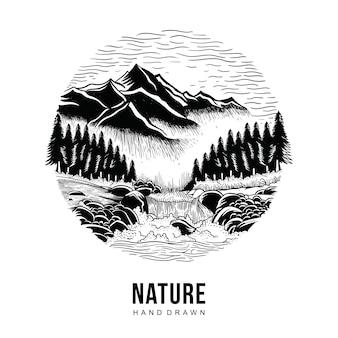Mão de natureza desenhada