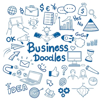 Mão de negócios desenhada doodles vector de fundo