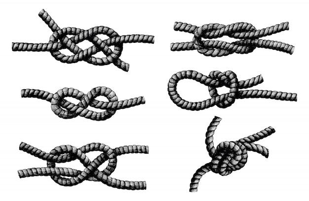 Mão de nó de corda desenhar gravura vintage isolada no fundo branco