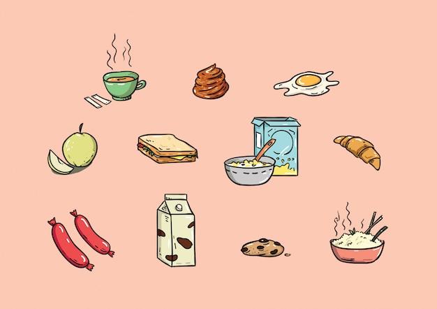Mão de objeto de café da manhã desenhada