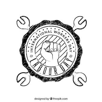 Mão de obra fundo desenhado emblema dia