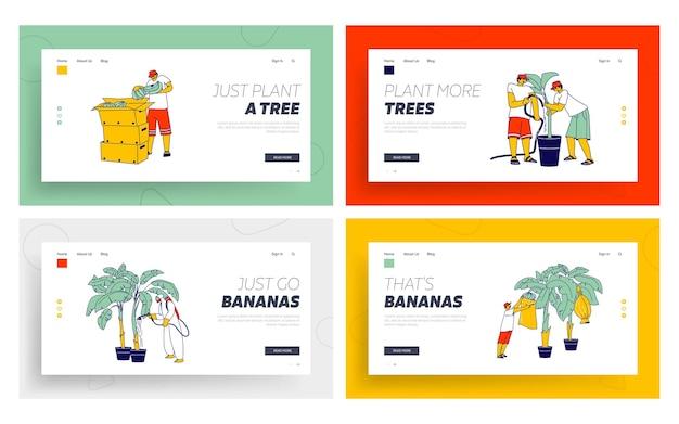Mão-de-obra trabalhando no conjunto de modelos de página de destino da plantação de banana
