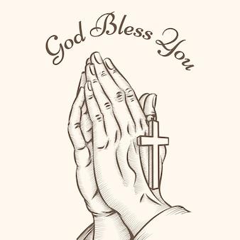 Mão de oração com cruz. religioso e deus, reza e santo, espiritualidade e crucifixo
