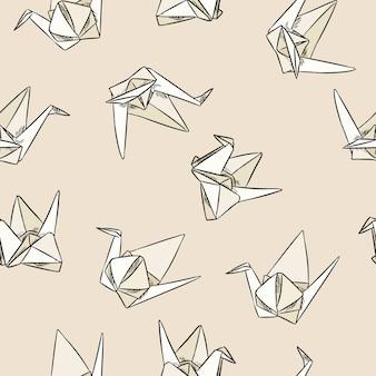 Mão de origami papel mão desenhada sem costura padrão
