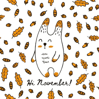 Mão de outono bonito desenhar coelho no padrão sem emenda de folhas e cones de bolota. vector background lebre na floresta com a inscrição olá novembro para papel de parede de impressão de embalagens têxteis.