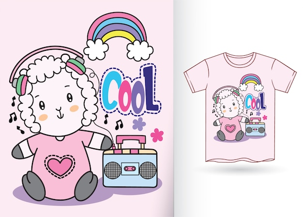 Mão de ovelhas de bebê fofo desenhada para t-shirt