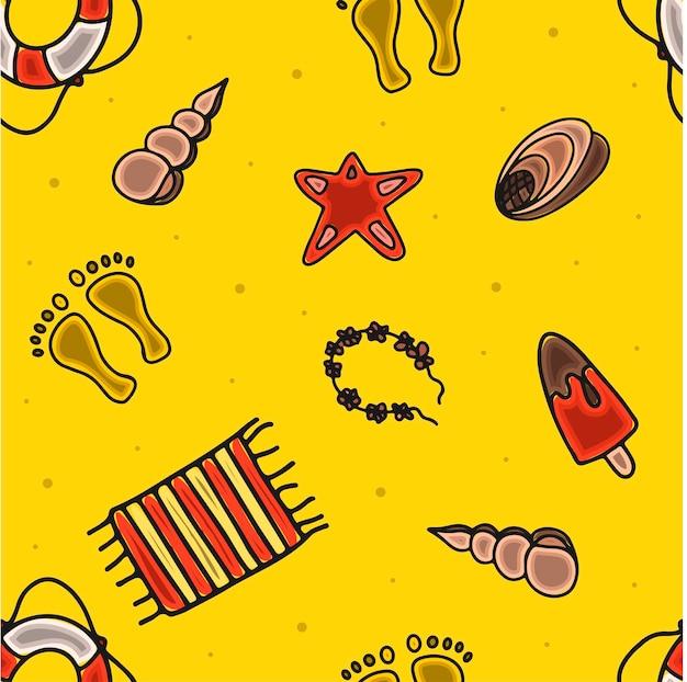 Mão de padrão de verão sem costura desenhar acessórios para férias na praia à beira-mar doodle ilustração para ...