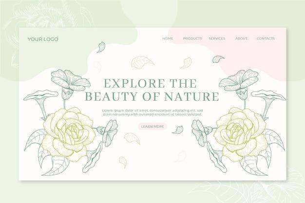 Mão de página de destino natureza desenhada