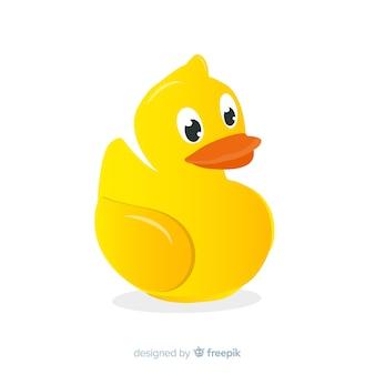 Mão de pato de borracha amarela plana desenhada