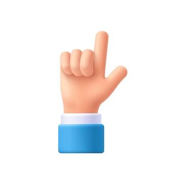 Mão de personagem de desenho animado apontando o gesto. mostre um dedo, o dedo indicador. indicando, mostrando algo acima. ilustração em vetor emoji 3d.