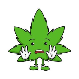 Mão de personagem de desenho animado de folha de maconha desenhada