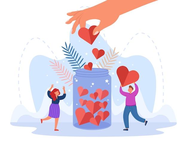 Mão de pessoa generosa colocando coração na jarra