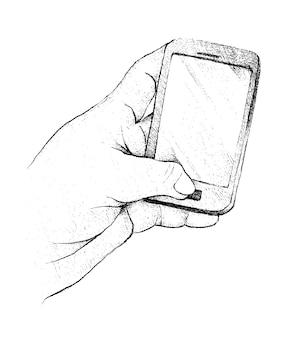 Mão de pessoa usando um telefone inteligente genérico