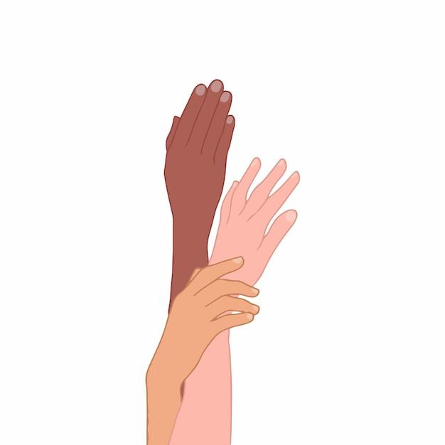 Mão de pessoas com cores de pele diferentes em fundo branco ilustração em vetor plana desenhada à mão
