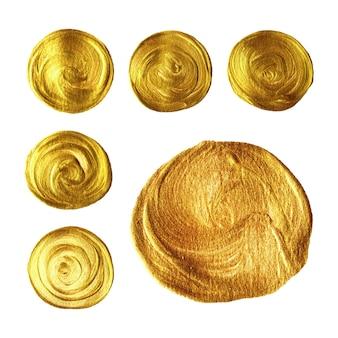 Mão de pincel de círculo de ouro pintado coleção isolada no fundo branco