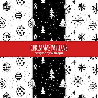 Mão de preto e branco desenhado coleção padrão de natal
