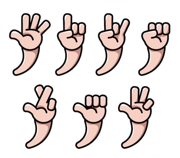 Mão de quatro dedos dos desenhos animados